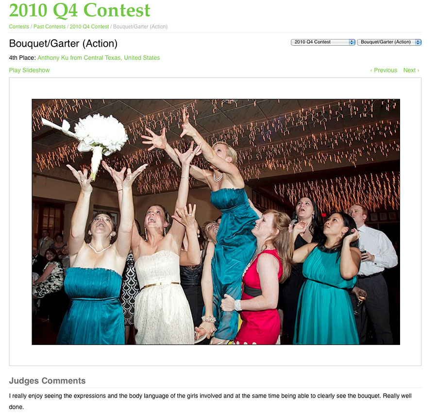 Austin Wedding Photographer - Bouquet Catch Wedding Photography Contest Winner