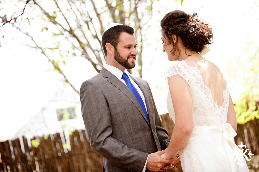 Austin wedding photographer captures a moment between the bride and groom as they first see each other on their wedding day.