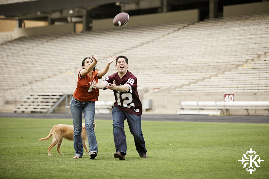 An engagement session at Kyle Field photographed by Austin wedding photogarpher Tony Ku (5)