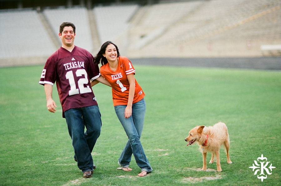 An engagement session at Kyle Field photographed by Austin wedding photogarpher Tony Ku (2)