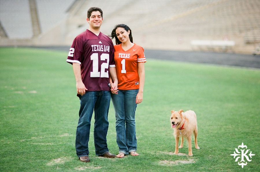 An engagement session at Kyle Field photographed by Austin wedding photogarpher Tony Ku (1)