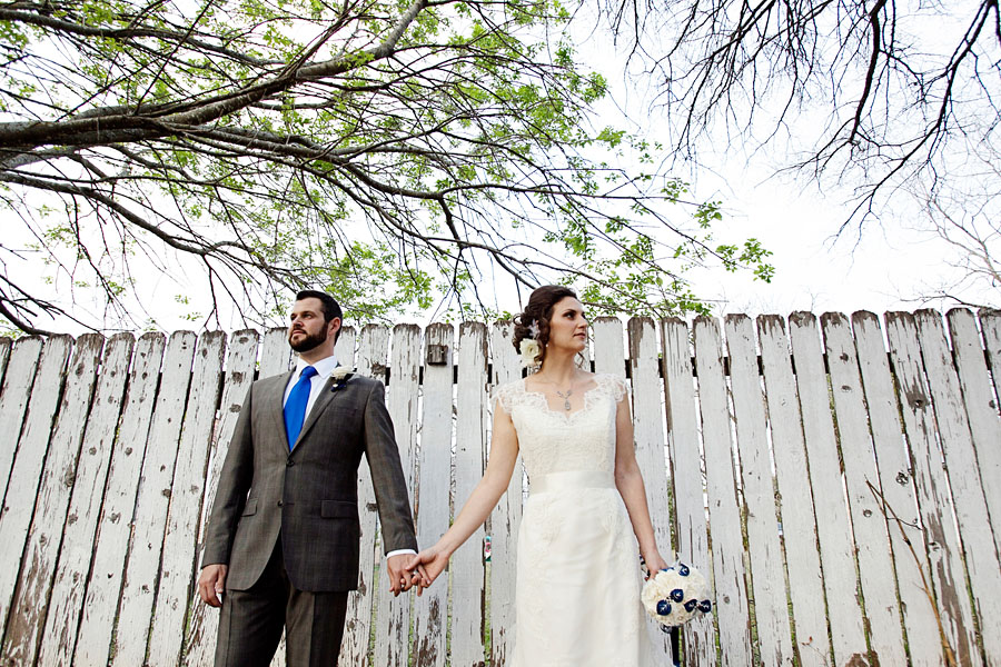 A rustic and vintage wedding portrait photographed by Austin wedding photographer at the Hoffman Haus.