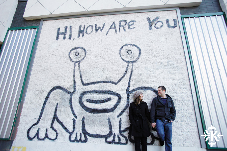 Hi How are You Frog Mural engagement photo