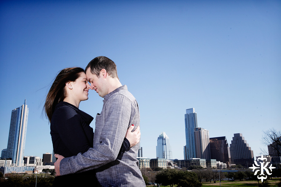 downtown Austin engagement photo