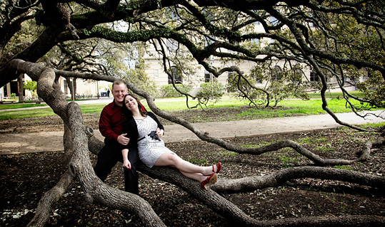 Century Tree engagement photo at the Texas A&M university campus photographed by Austin wedding photographer