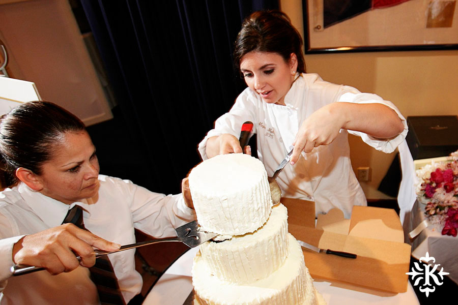 Cake made by the bride's sister at a Houston Yacht Club wedding, photographed by Tony Ku